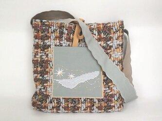 ウールショルダーバッグ 刺繍 星・河 グレーの画像