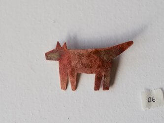 おおかみのブローチ06(銅/焦がし)の画像