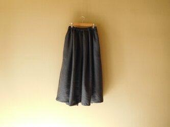 リネンのスカート ネイビーの画像
