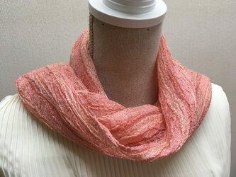 草木染め 手織りシルクストール茜 ST14の画像