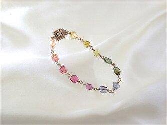 宝石質トルマリングラーデーションカラーブレスレットの画像