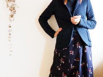 ポップな小紋柄のあったかスカート(綿入れ)-小紋着物地(古布)からの画像