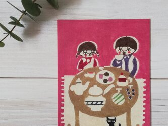 ポストカード・型染め「ヘンゼルとグレーテル・おかしのテーブル」の画像