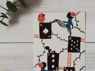 ポストカード・型染め「トランプと小人」の画像