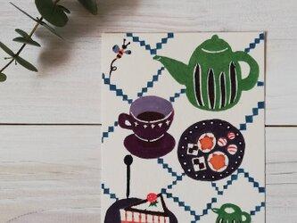 ポストカード・型染め「Tea time」の画像