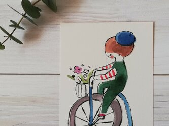 ポストカード2枚セット「花束配達員」の画像
