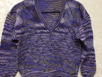 手編み子供用(120cm)コットンプルオーバーの画像