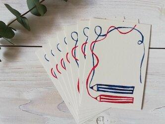 ミニカード・型染め「えんぴつ・赤と青」の画像