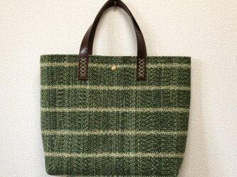 裂き織り グリーンノイズなミニバッグ (本革持ち手)の画像