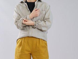 【wafu】【M】メンズ仕様 本格 premium 中厚 リネンシャツ  長袖 シャツ/亜麻ナチュラル t032g-amn2-mの画像