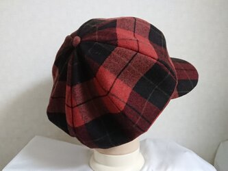 魅せる帽子☆大きいサイズ♪上質ウールのブリティッシュ風キャスケット~チェックの画像
