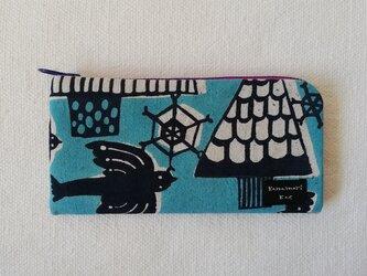 型染め 長財布「冬の渡り鳥」の画像