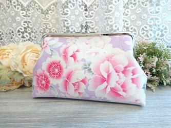 ◆芍薬と桜の春がま口ポーチ*牡丹和柄日本花柄フラワー着物がま口バッグ旅行プレゼンの画像