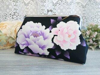 ◆牡丹の春がま口ポーチ*芍薬和柄日本花柄フラワー着物がま口バッグ旅行プレゼントの画像