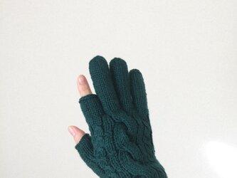 【受注制作】メンズスマホ対応手袋メリノウール100%グリーンの画像