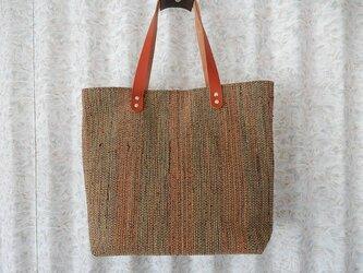 送料無料 裂き織の大きめトートバッグ (オレンジ)の画像