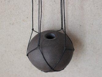 地球 the earth ハンガーベイス 花器 黒 ロウ引き麻プランツハンガーの画像