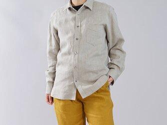 【wafu】【L】メンズ仕様 本格 premium 中厚 リネンシャツ 長袖 シャツ/亜麻ナチュラル t032g-amn2-lの画像