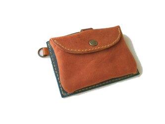牛革 pass card case アンティークブルー×アンティークレッドの画像