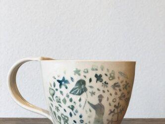 """マグカップ ―kakiotoshi  blue gradation """"樹雨に踊る""""の画像"""