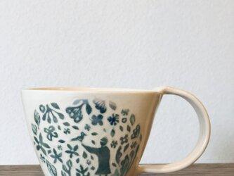 """マグカップ ―kakiotoshi  blue gradation """"鳥を呼ぶ人""""の画像"""