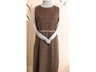 イタリー製カシミア混ジャンパースカート(ストール付き)の画像