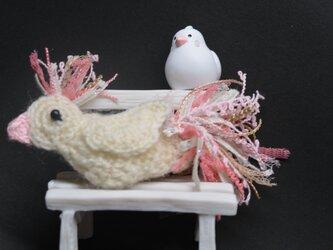 ブローチ・白い鳥の画像