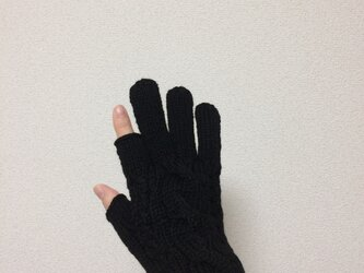 【受注制作】メンズスマホ対応手袋メリノウール100%黒の画像