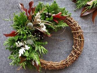 [限定1点]3種類の針葉樹香る大人シックお正月飾りリース(生花)の画像