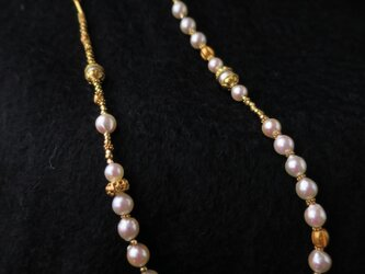 K18 Akoya baroque pearl・Gold beads Necklaceの画像