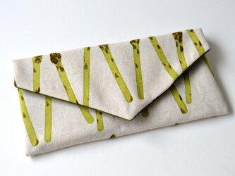 使い方いろいろキズ汚れも防げる・レター型 ポーチ アスパラ 野菜の画像