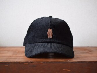 コーデュロイキャップ 黒×ヒグマの画像