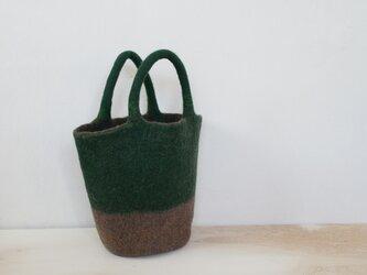 バケツバッグ(深緑*薄茶)の画像