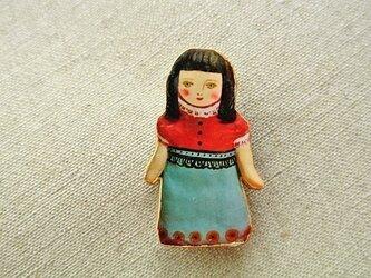 水色スカートお嬢さんブローチの画像