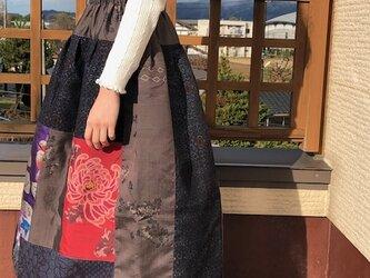 銘仙 真綿結城紬パッチワークスカート月夜に咲く紅菊M~Lの画像