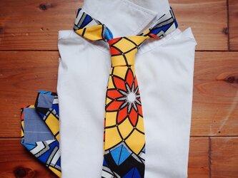 アフリカンプリントx播州織ネクタイ bright flowerの画像