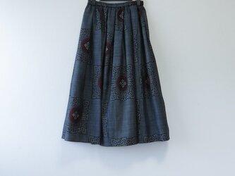 *アンティーク着物*藍大島紬のスカート(裏地つき)の画像