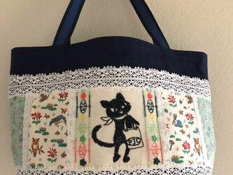 クリスマスセール 黒猫クロッチ帆布deパッチワークトートバッグの画像