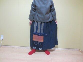 藍木綿古布リメイク☆絣や格子や亀染に縞々木綿楽しいおとなスカート82㎝丈の画像