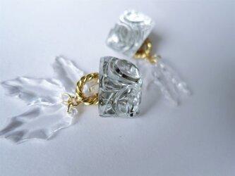 アイスリーフイヤリング vintage earrings horse bit <PE8-L19>の画像