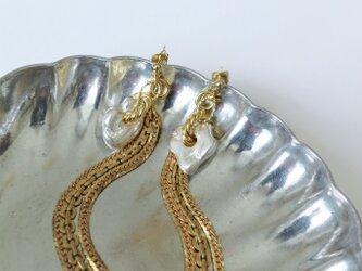 2ウェイピアス シルバーナゲット&フリンジ vintage earrings fringe SV <PE7 -L19>の画像