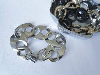シルバーチェーンブレスレット vintage bracelet coin <BL1-L19>の画像