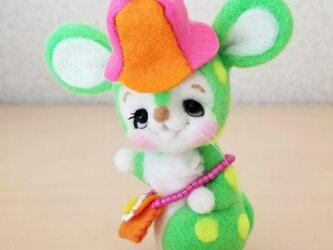メルヘン♡レトロなネズミちゃん(ネオングリーン)の画像