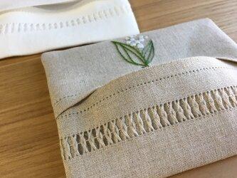 すずらんの刺繍|リネンポケットティッシュケースの画像