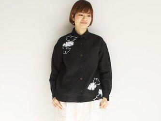 リネンシャツ黒 <雲>の画像