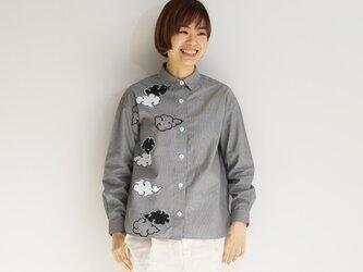 ギンガムチェックシャツ黒 <雲>の画像