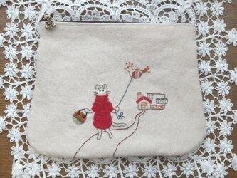 猫お散歩ダブルファスナーポーチの画像