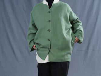 【wafu】厚地 暖リネン サフィランリネン シャツ専用ジャケット ドロップショルダー 羽織 長袖/蒼色 h042c-sou3の画像