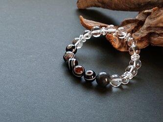 ◆rさまご予約品  *ブラックアゼツライトと天眼石・水晶のブレスレットの画像