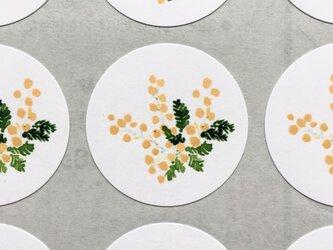 ミモザの水彩画のシールの画像
